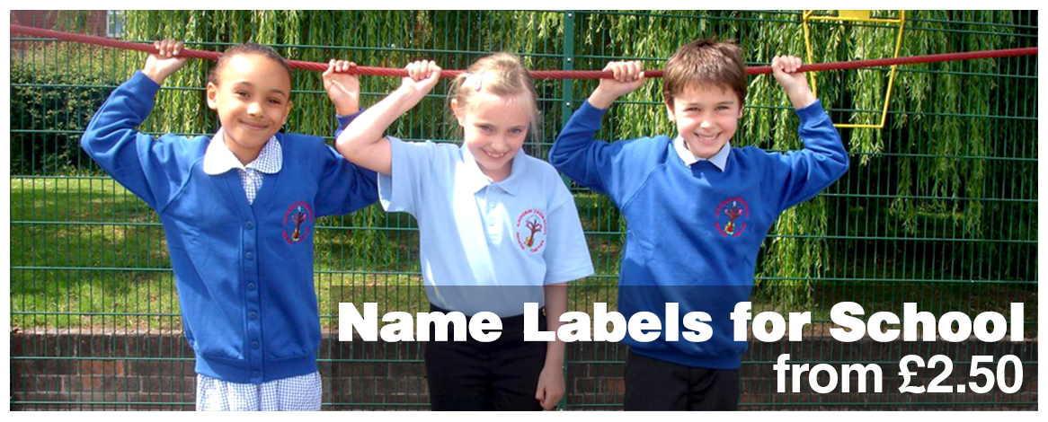 School name labels for kids printed with your child's name from only £2.50