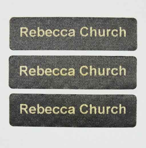 Printed Pre-Cut iron on Black Nametapes 1 Line
