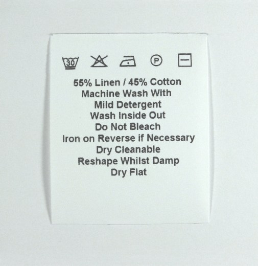 Sew in Flag type Wash Care label 40mm