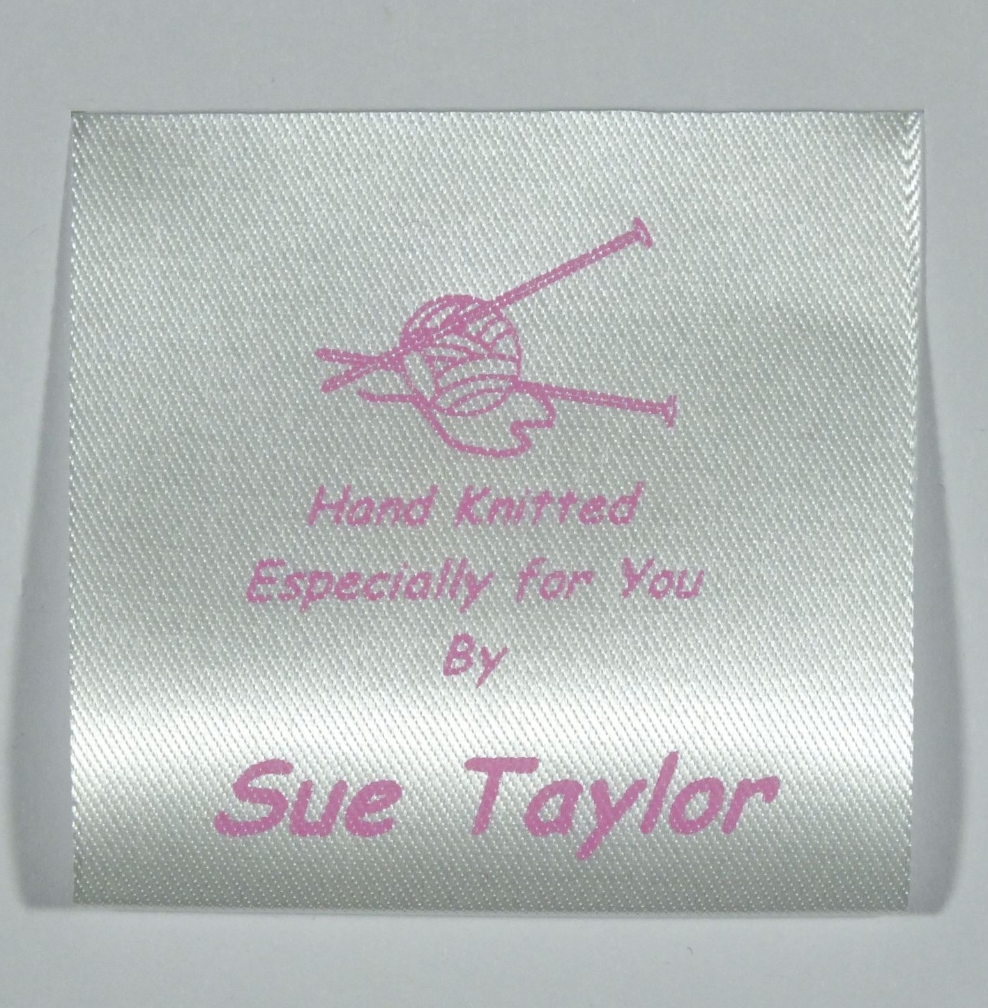 Sew in personalised label with a knitting needles and wool for Sew in craft labels