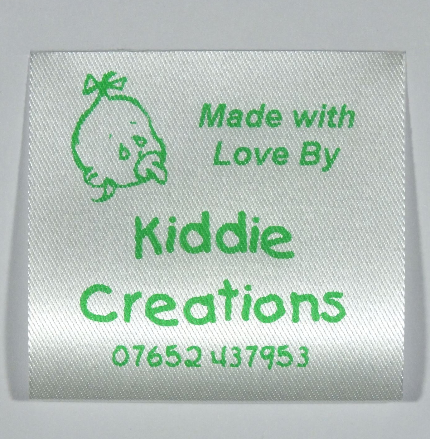 A label specially designed for childrens clothing for Sew in craft labels